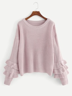 Tiered Ruffle Sleeve Solid Sweater
