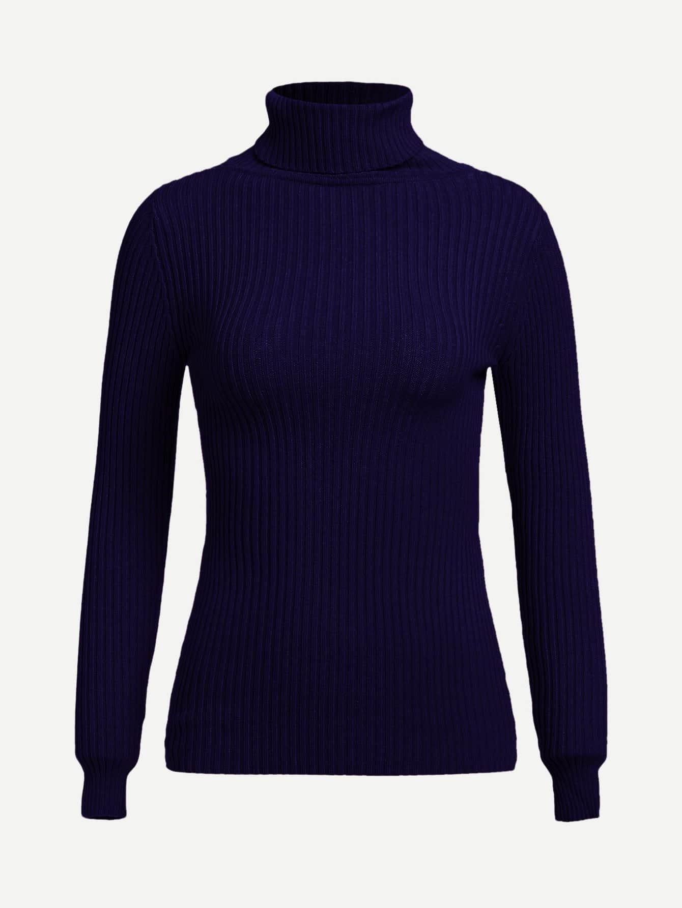 Купить Высокий шея Rib Knit Slim Fitted Sweater, null, SheIn