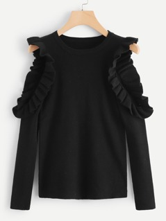 Cut Out Sleeve Ruffle Embellished Jumper