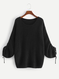 Drawstring Sleeve Solid Jumper