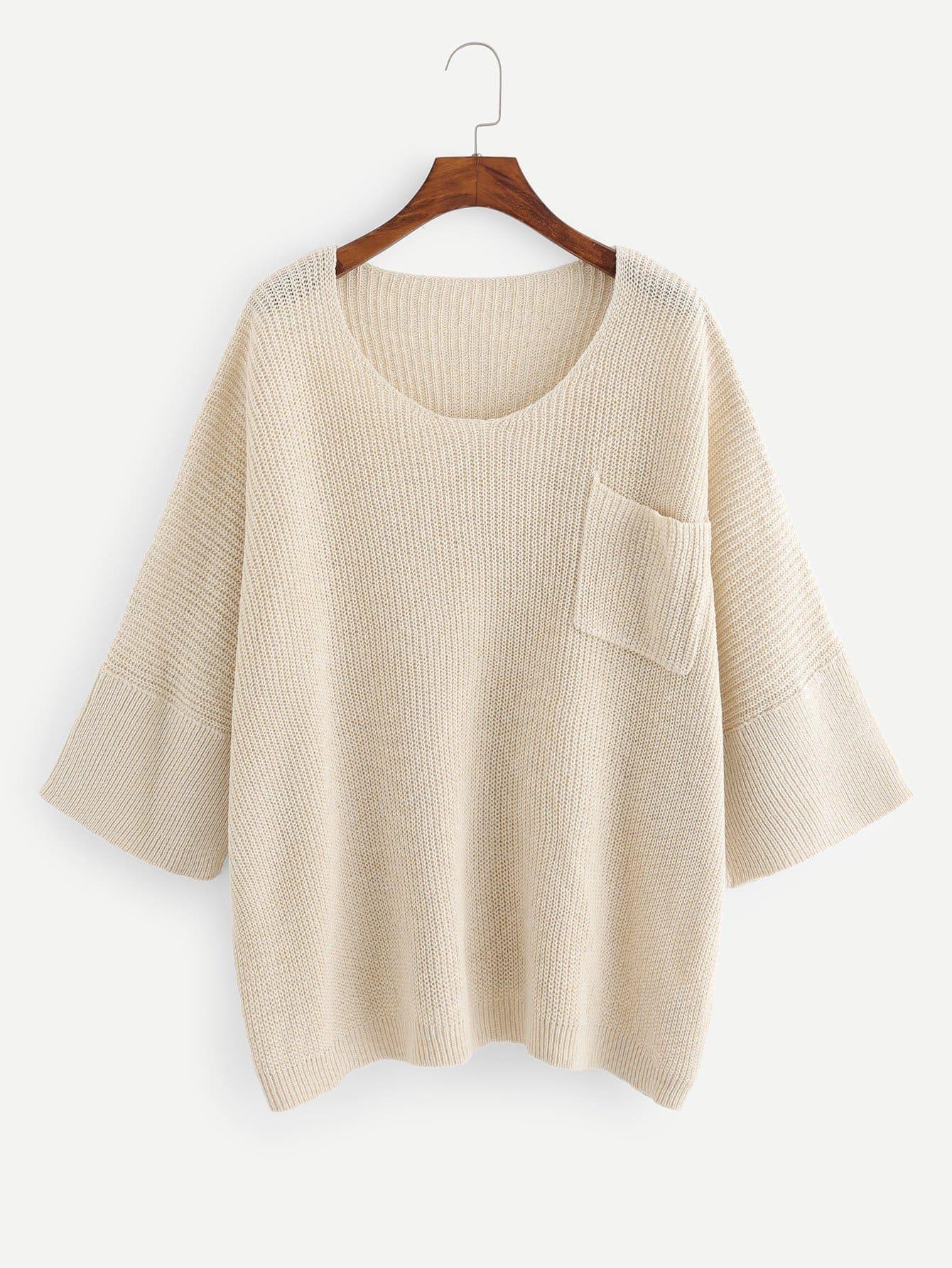 Купить Карманный патч-негабаритный свитер, null, SheIn