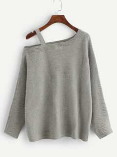 Asymmetrical Shoulder Cut Out Sweater