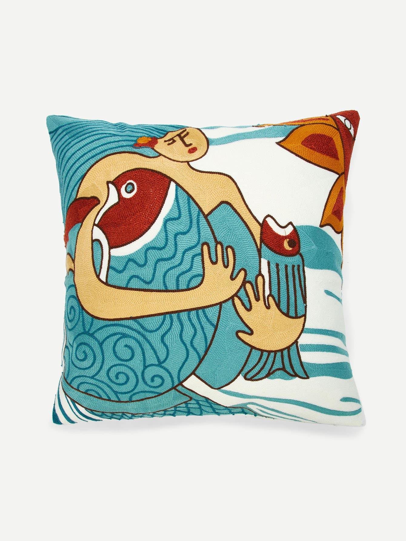 Купить Подушка с абстрактной вышивкой из рисунка 1 шт., null, SheIn