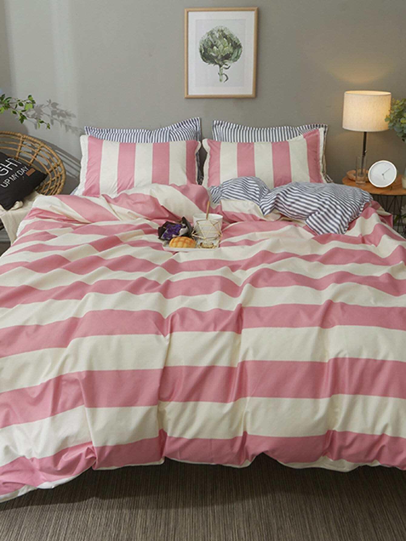 Купить Комплект постельного белья разные полоски, null, SheIn
