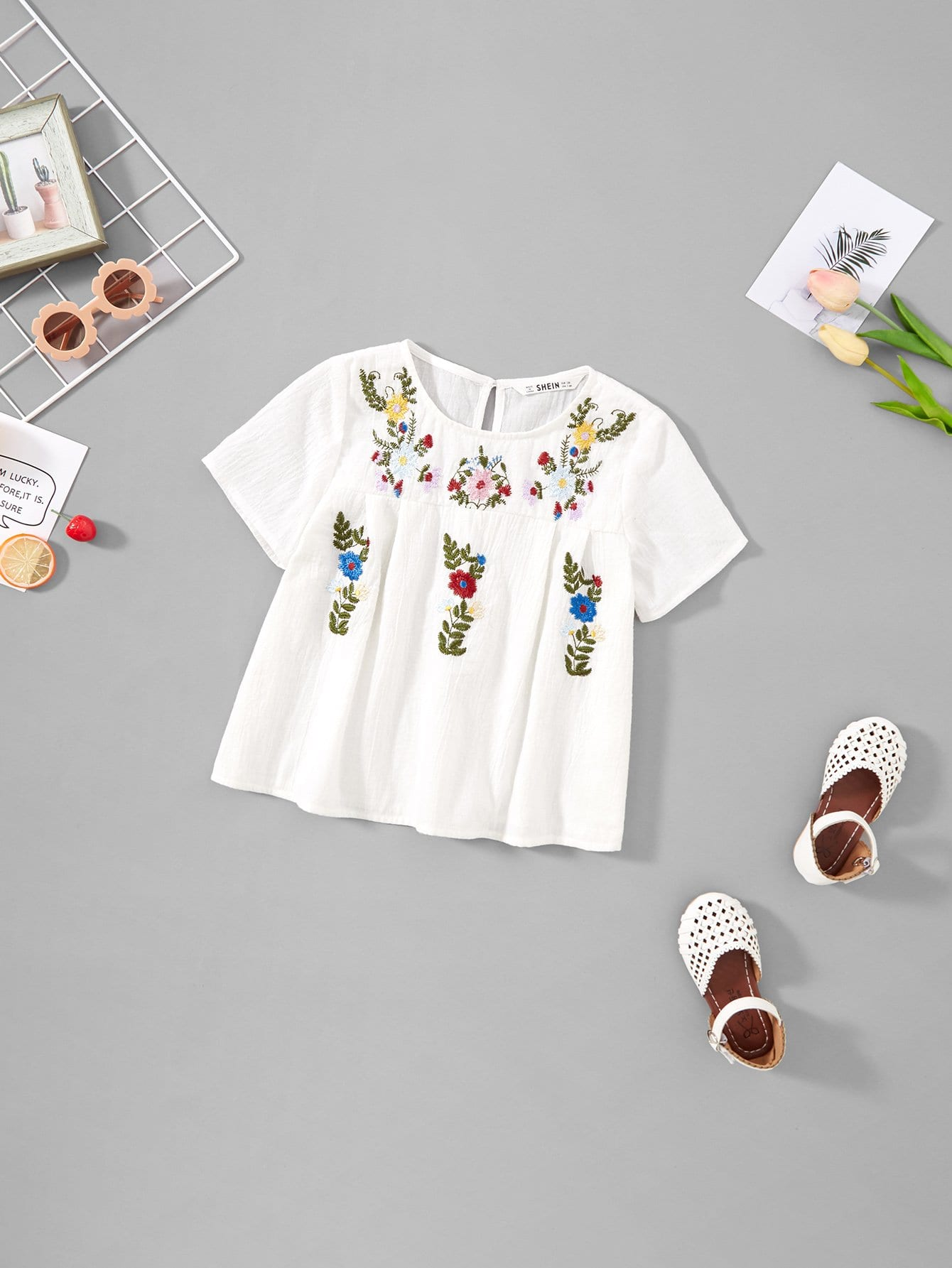 Girls Keyhole Back Floral Embroidered Top girls keyhole back floral embroidered mesh top