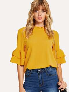 Frill Neck Tiered Flounce Sleeve Top