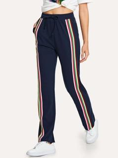 Striped Side Drawstring Straight Leg Pants