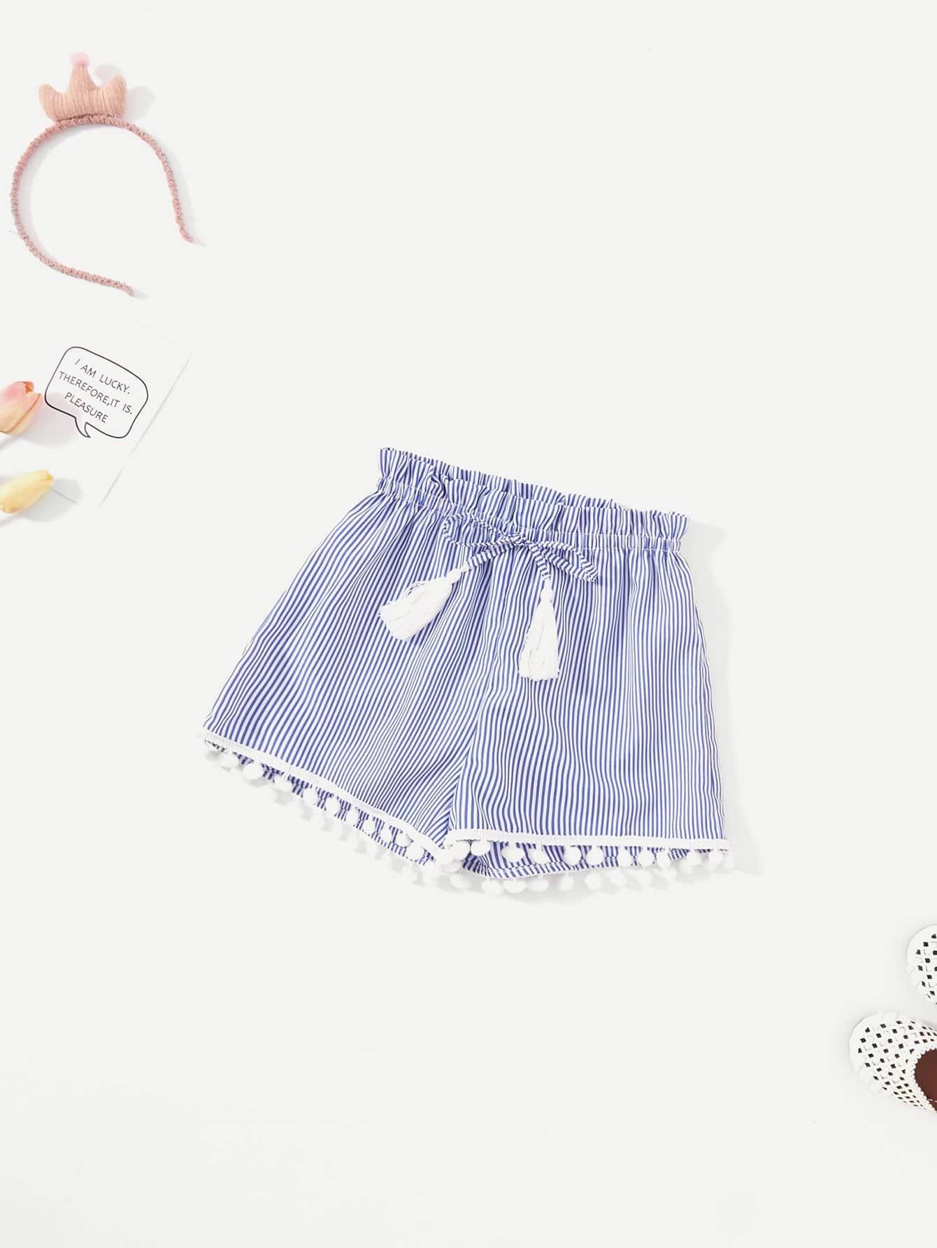 Купить Девушки Pom Pom Hem Tassel Детали Полосатые шорты, null, SheIn