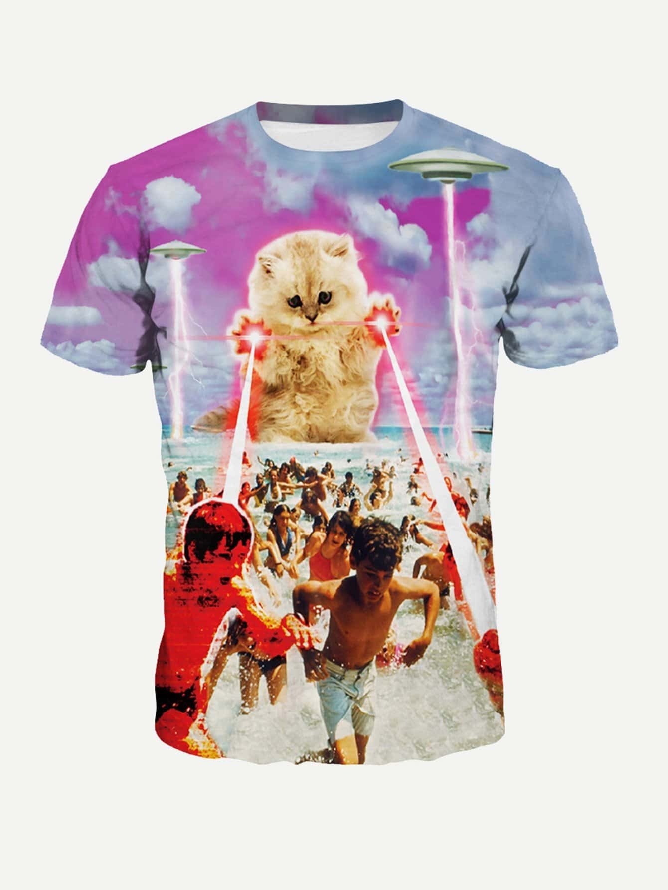 T-Shirt mit Katze und Abbildungmuster