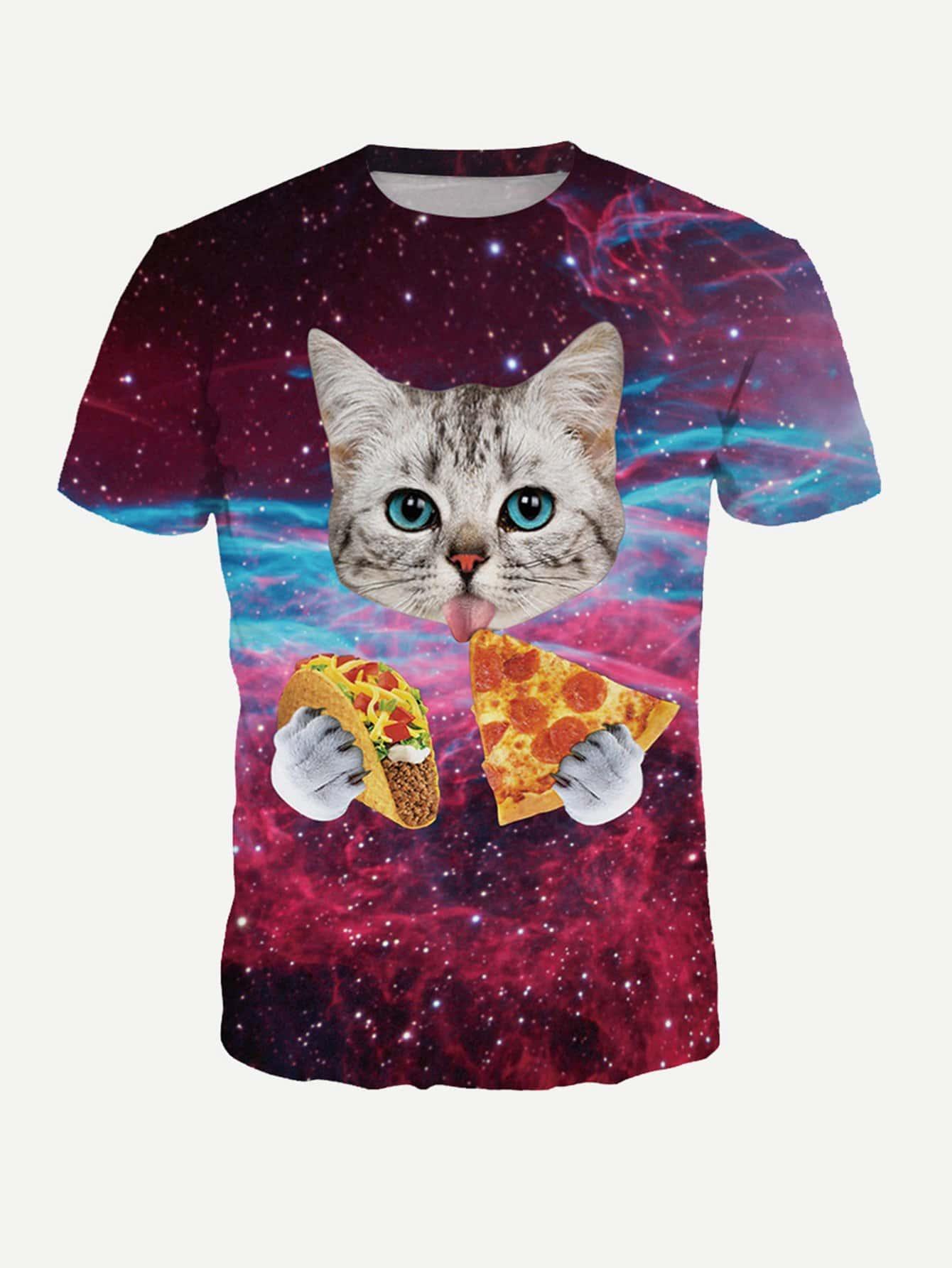Купить С животными Ржаво-коричневый Мужские футболки, null, SheIn