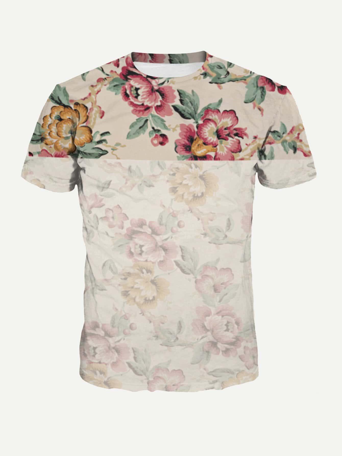 Men Floral Print Tee
