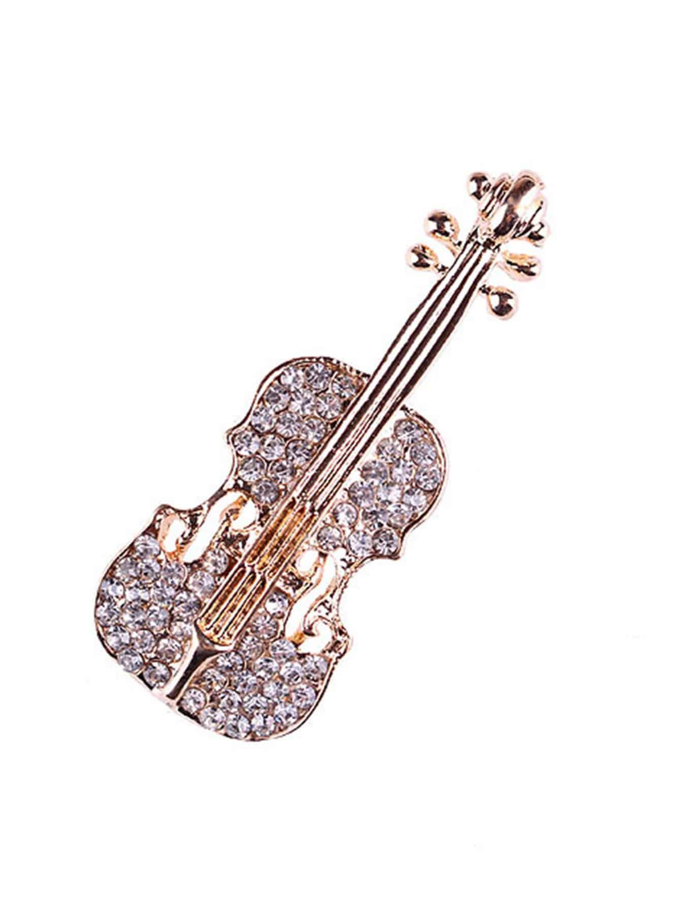 Rhinestone Violin Shaped Brooch