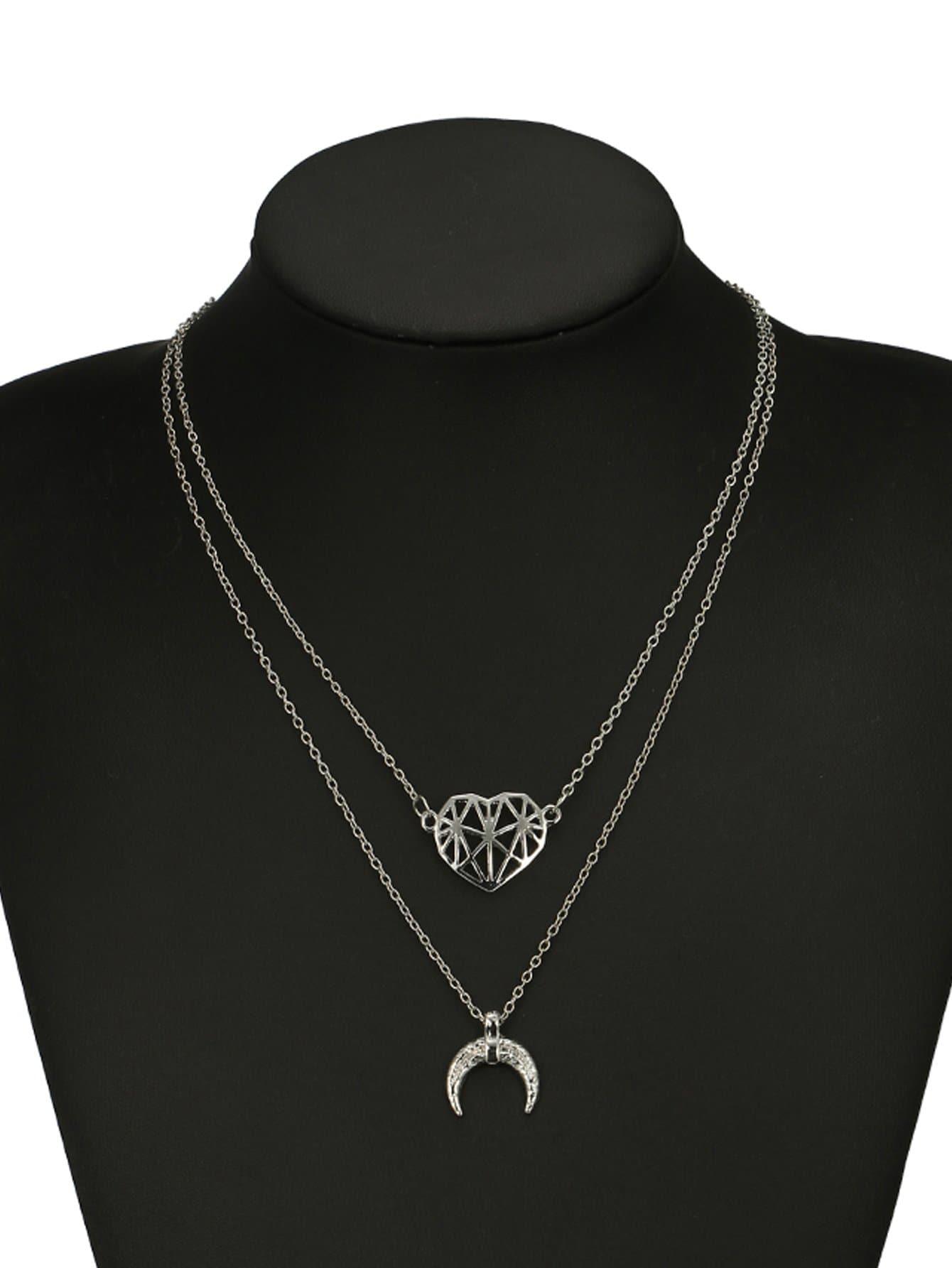 Mond & Herz Anhänger geschichteten Halskette