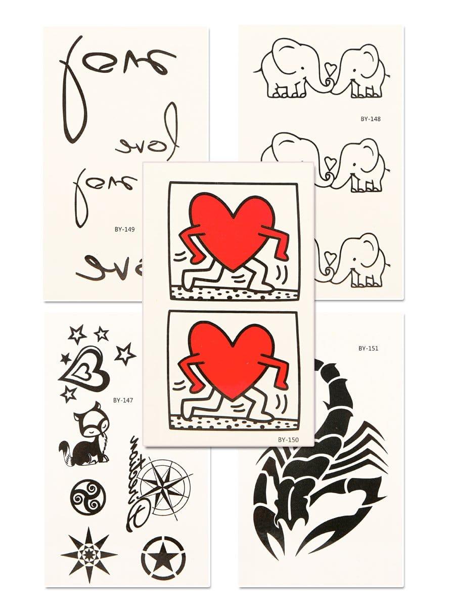 Купить Набор татуировки с рисунками сердца и скорпиона 5 шт, null, SheIn