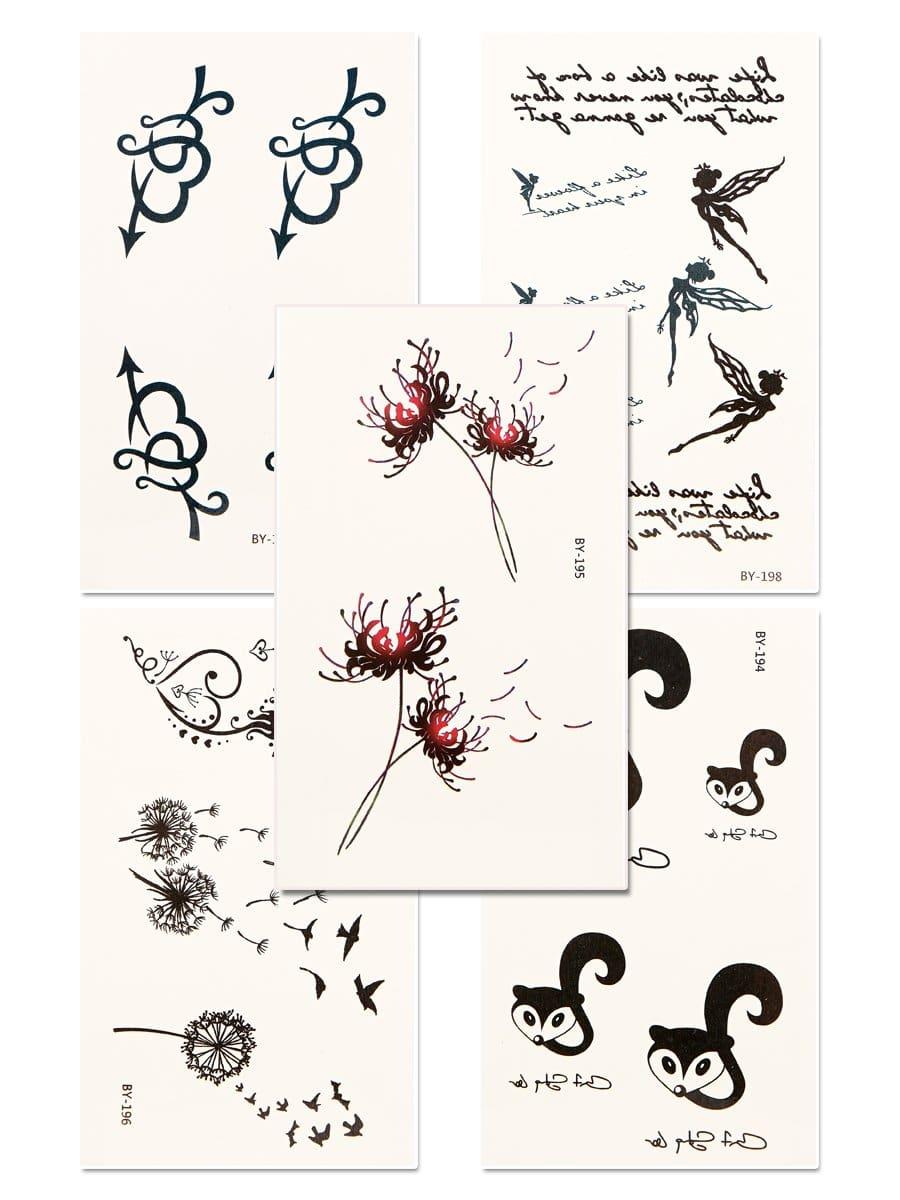 Купить Набор татуировки с рисунками лисицы и сердца 5 шт, null, SheIn