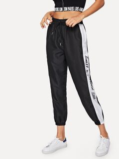 Letter Tape Side Drawstring Waist Pants