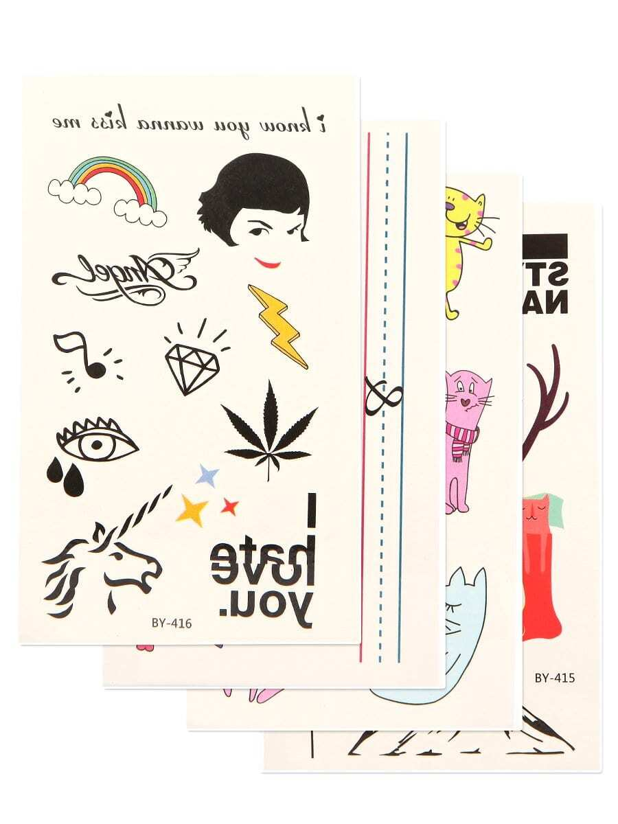 Animal Pattern Tattoo Sticker Set 4pcs