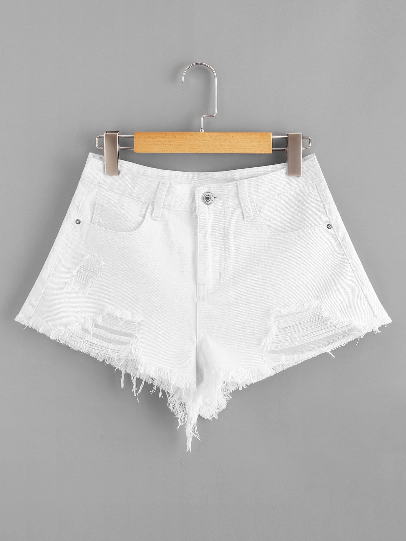 Ripped Detail Raw Hem Denim Shorts stark велосипед stark outpost 26 1 d 2018 синий зелёный голубой 20