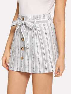 Bow Tie Front Button Up Striped Skirt