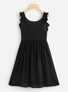 Frill Trim Knot Back Dress