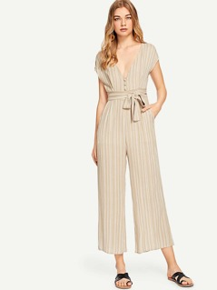 Button & Pocket Up Belted Striped Jumpsuit