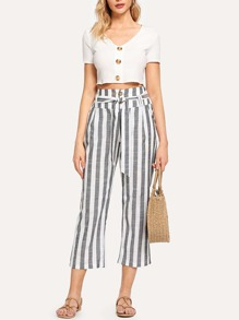 Striped Belted Button Pants