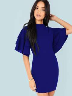 Form Fitting Tiered Ruffle Sleeve Dress