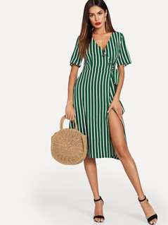 Buttoned Wrap Front Striped Dress