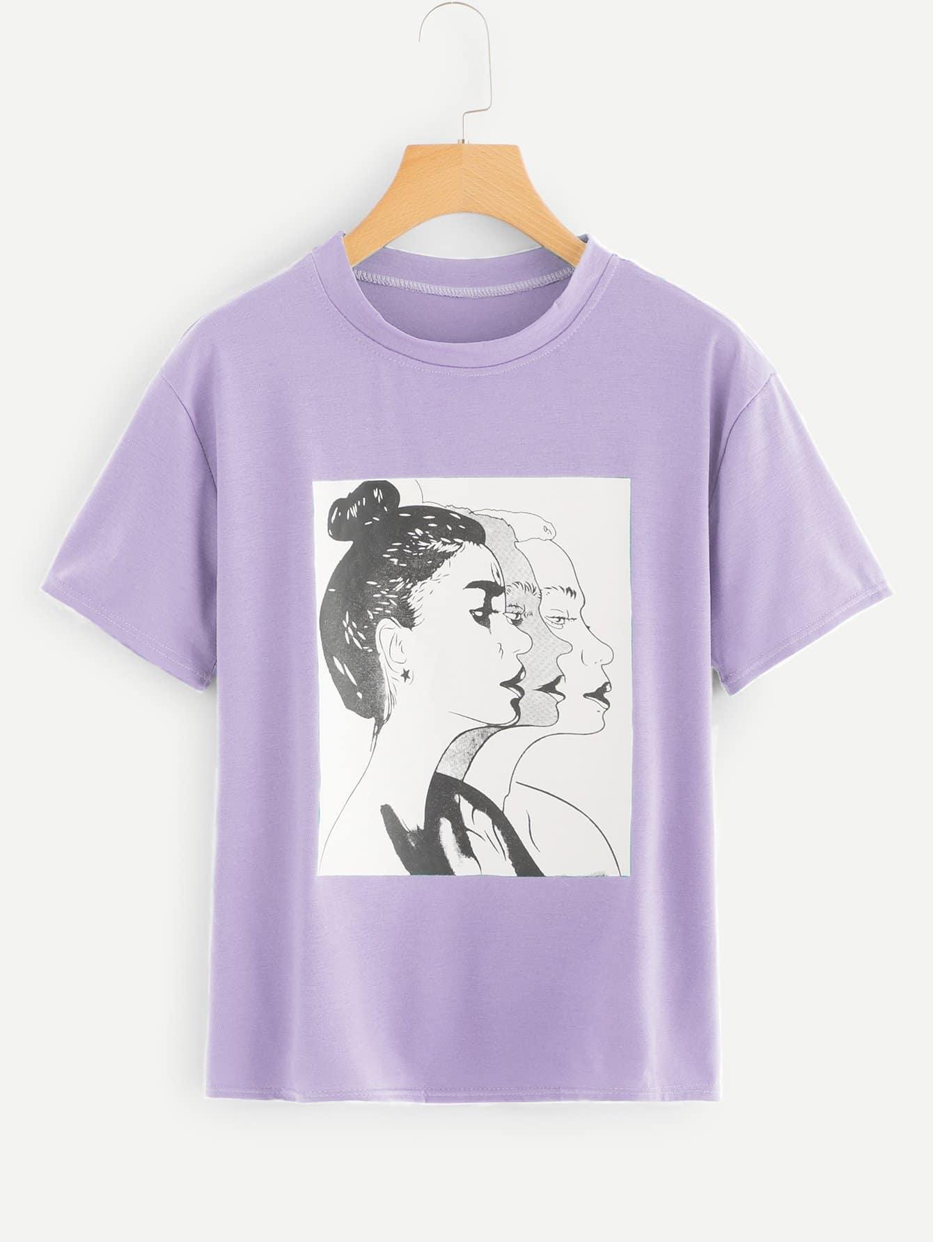camiseta con estampado de figura - shein espa09a