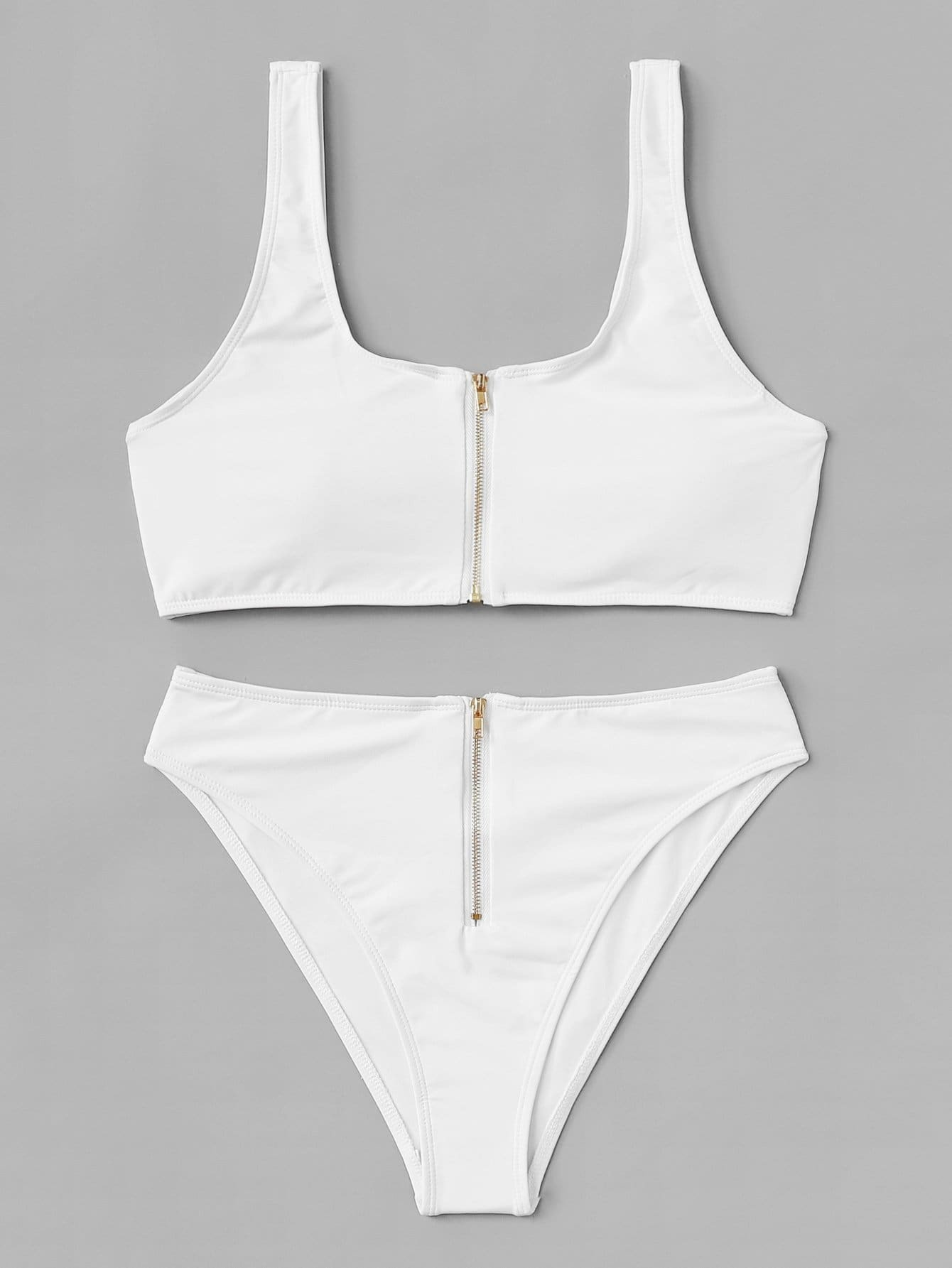 Zipper Front Bikini Set zipper front plain bikini set