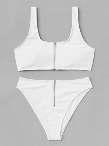 Zipper Front Bikini Set