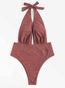 Open Back Halter Swimsuit