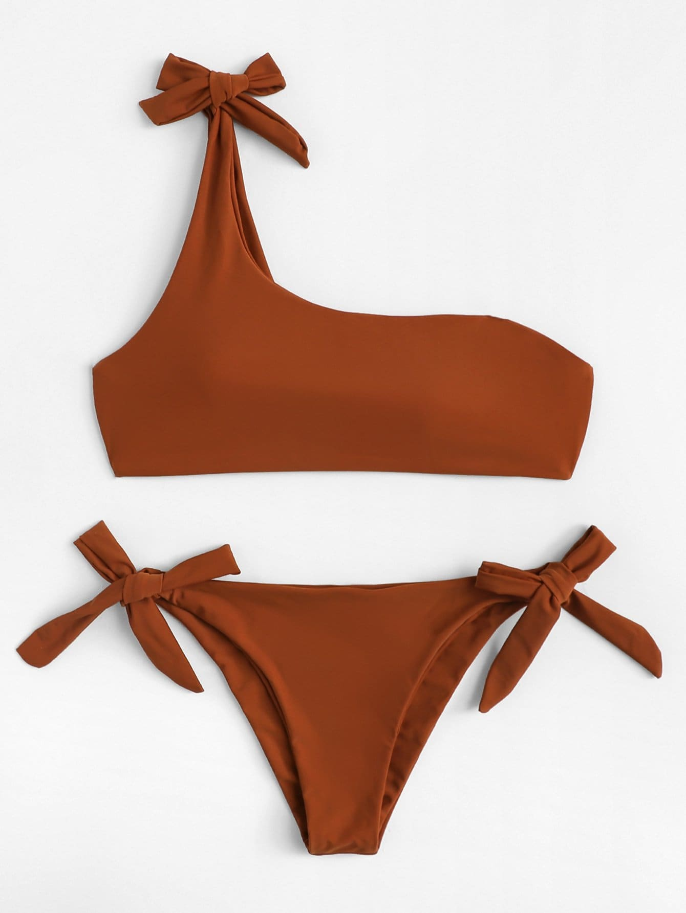 Tie Side One Shoulder Bikini Set