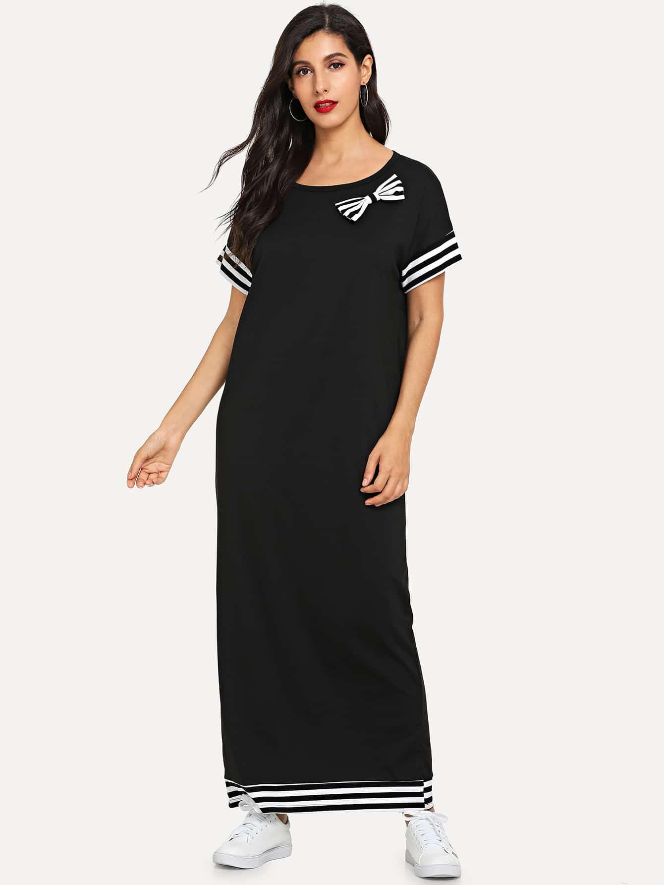 Contrast Stripe Bow Longline Dress