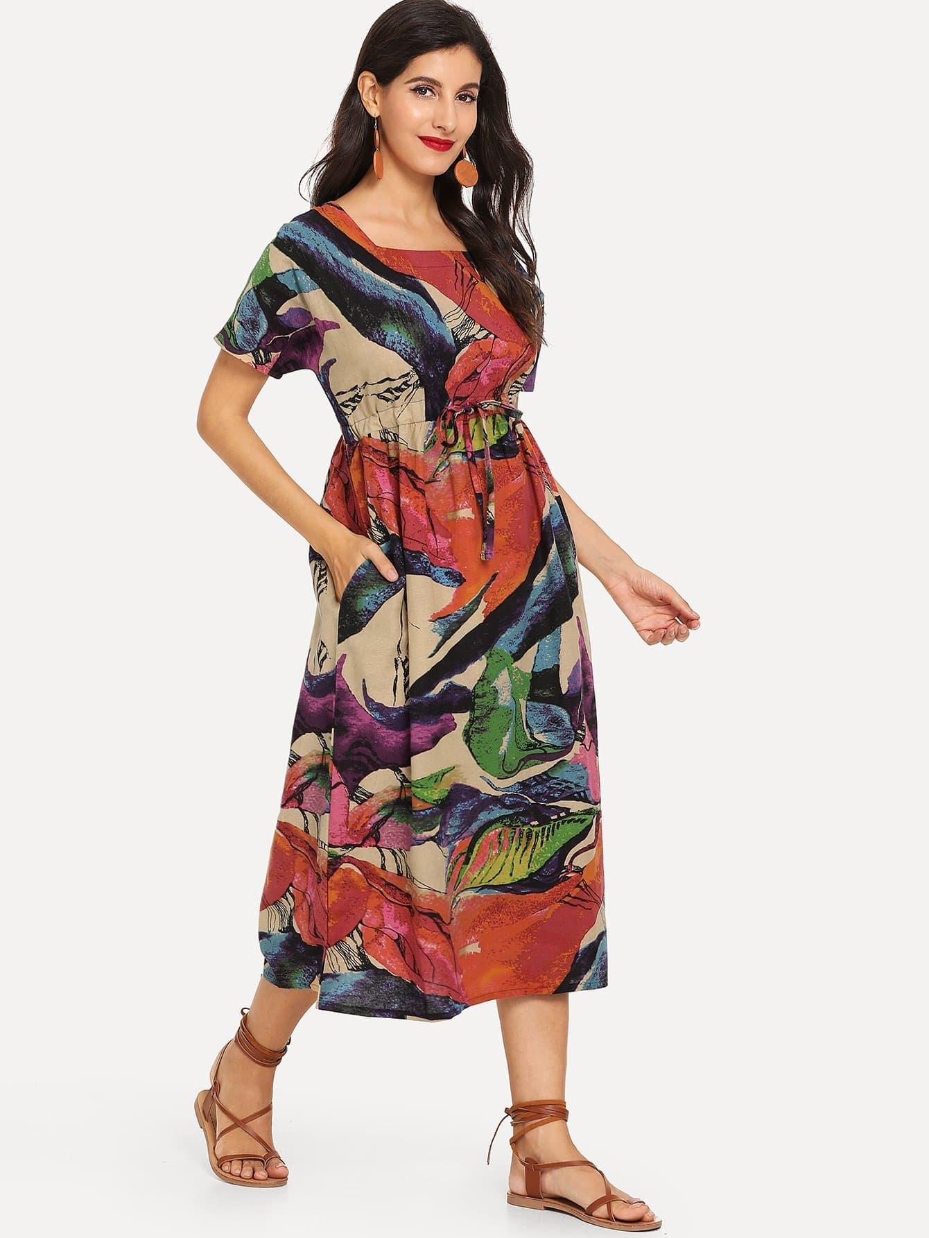 Купить Платье с рисунками живописи и с поясом, Jeane, SheIn