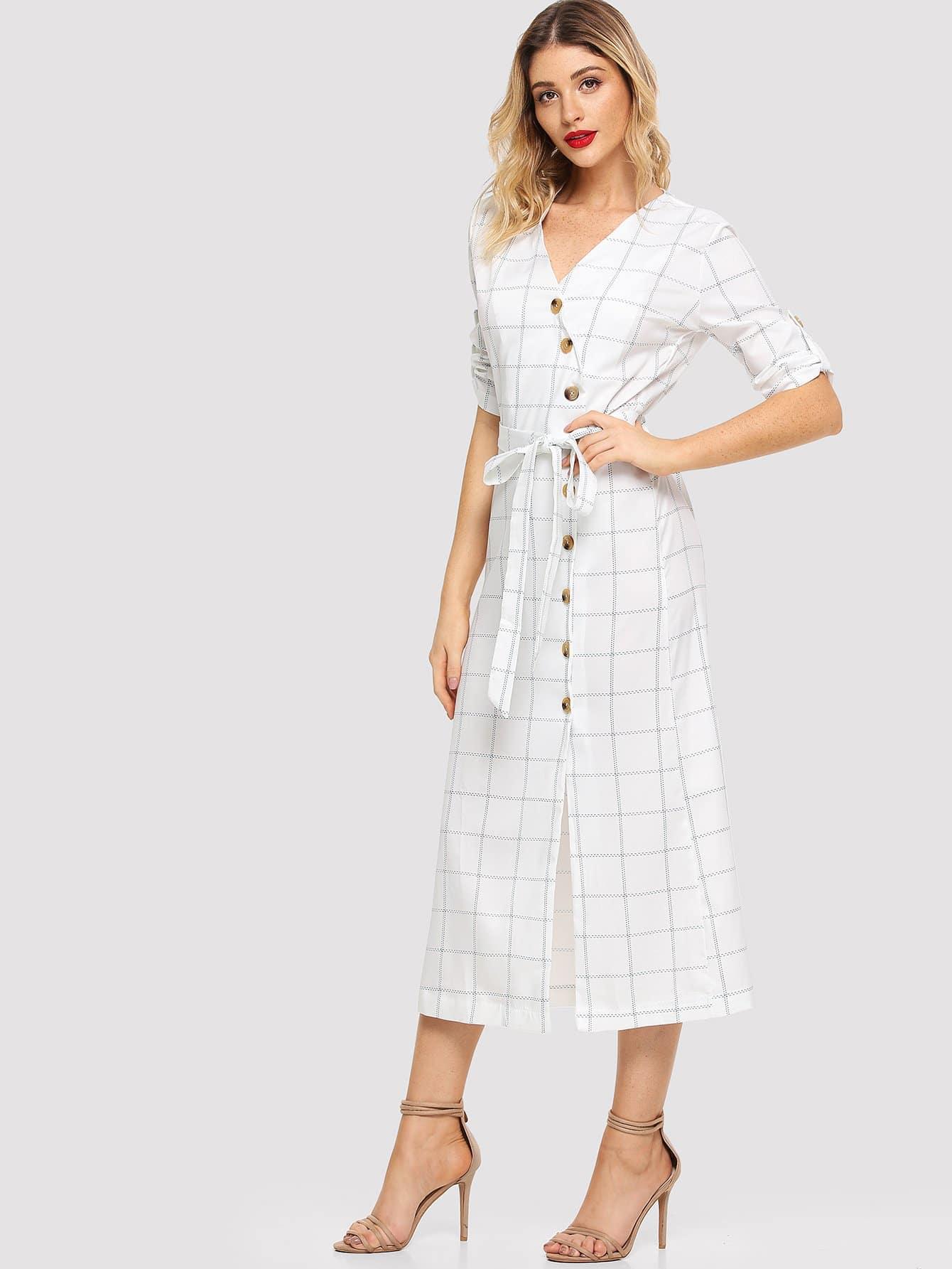 Купить Платье в клетку и с украшением пуговицы и с поясом, Nathane, SheIn