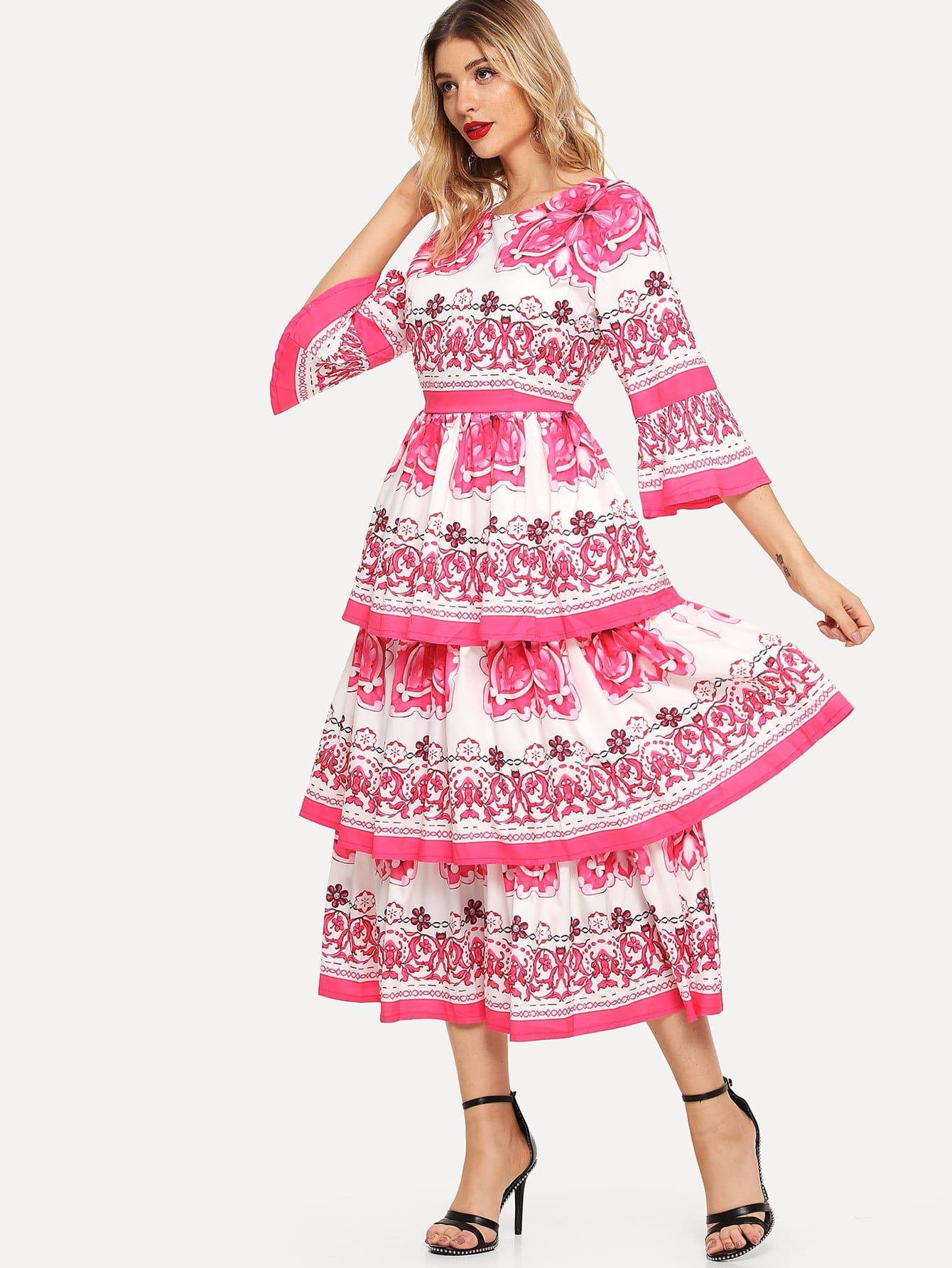 Купить Ситцевое накрахмаленное платье и рукава с розеткой, Nathane, SheIn
