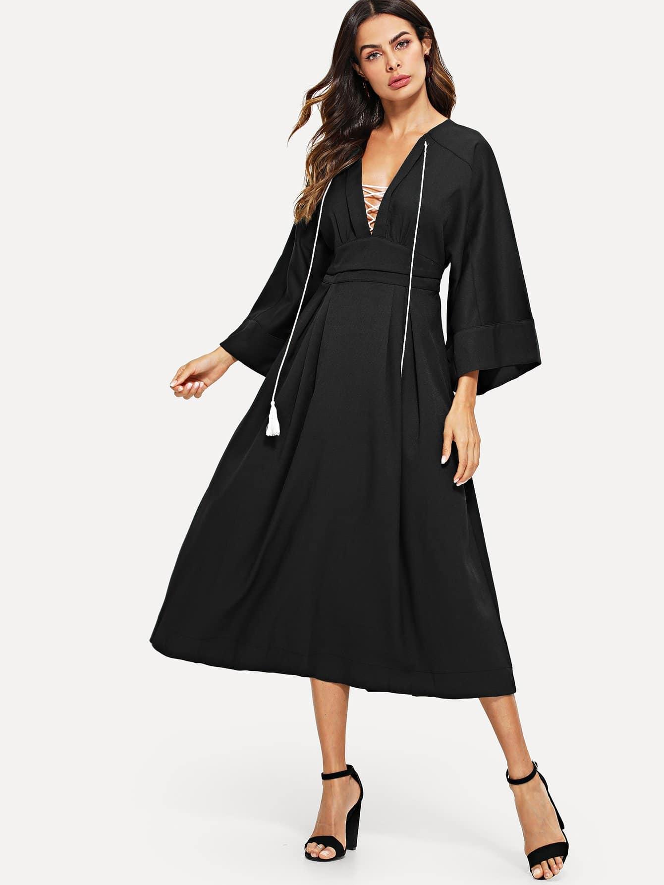 Купить Plunging платье и воротник с кистями и рукава кимоно, Andy, SheIn
