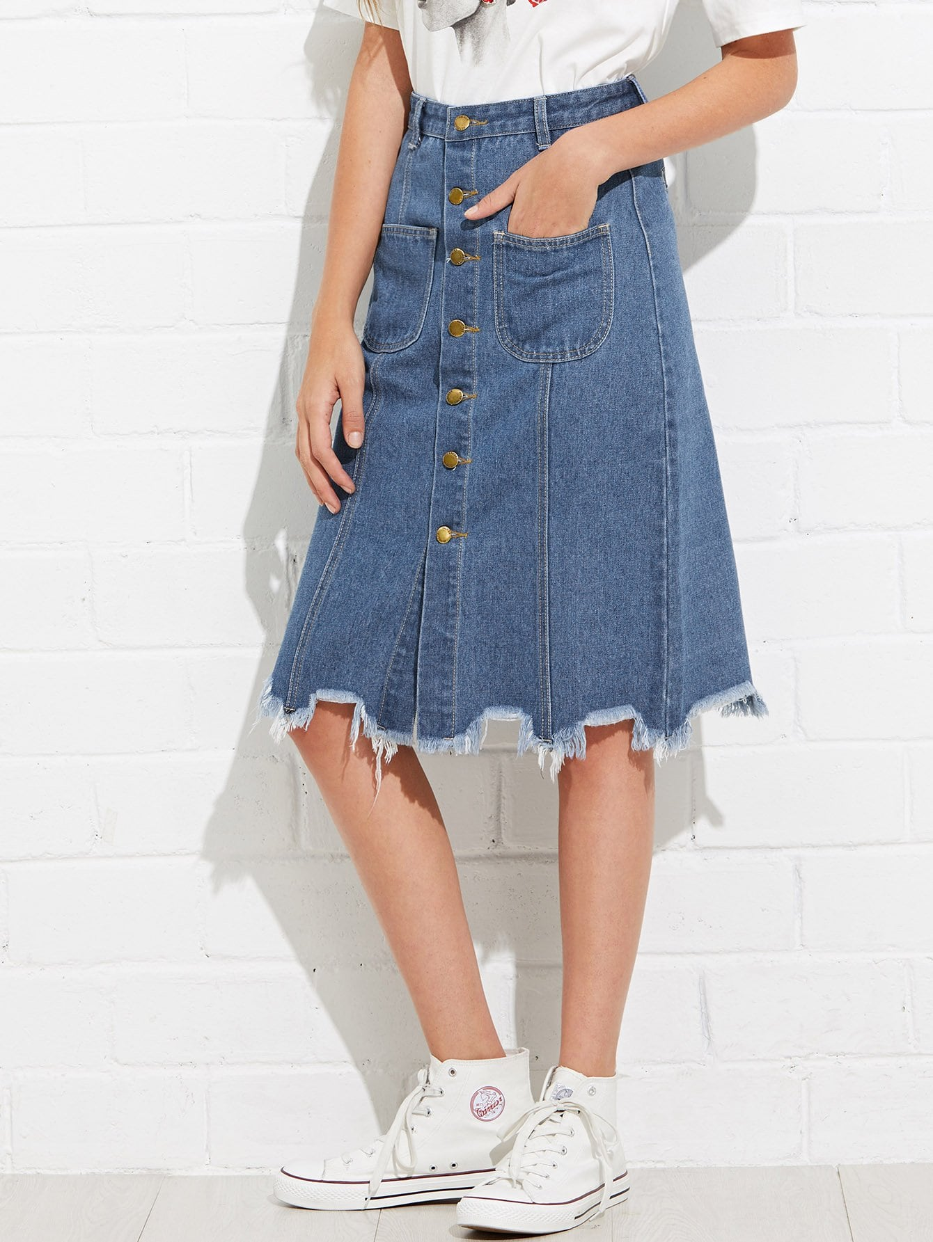 Raw Hem Button Front Pocket Denim Skirt