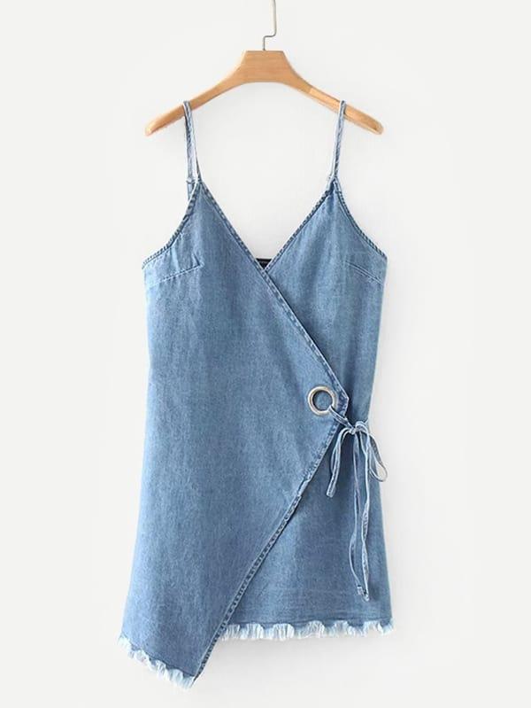 Raw Hem Overlap Denim Cami Dress ruched overlap cami dress