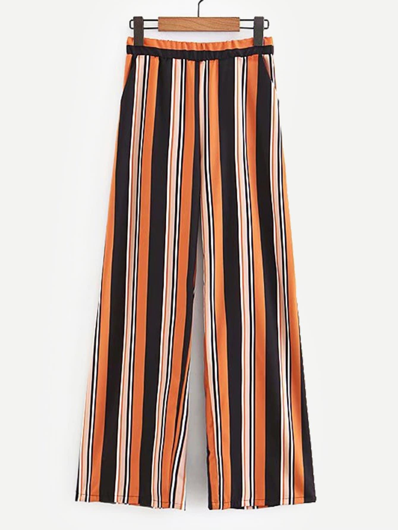 Купить Вертикальные полосатые брюки и с басоном эластичным, null, SheIn