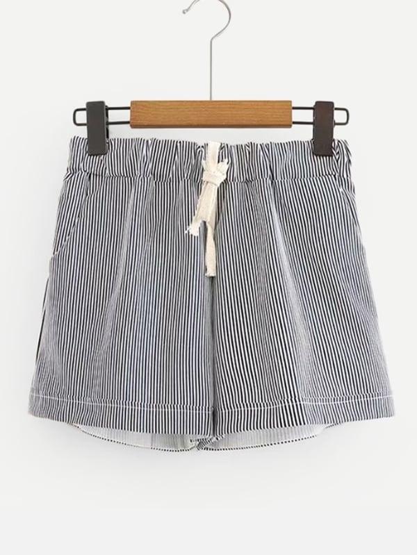 Купить Вертикальные полосатые шорты и с басоном эластичным, null, SheIn