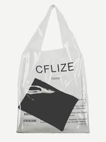 Slogan Print Tote Bag With Inner Clutch