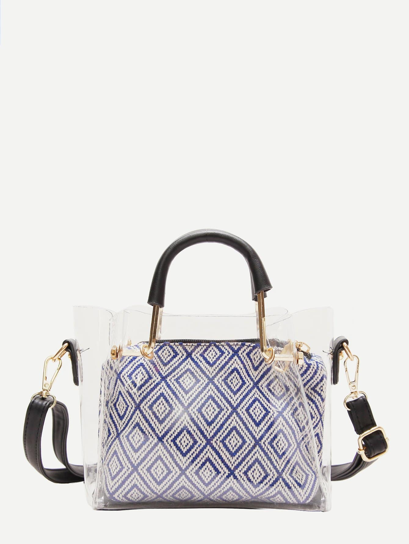 Clear Bag With Geometric Pattern Inner Pouch