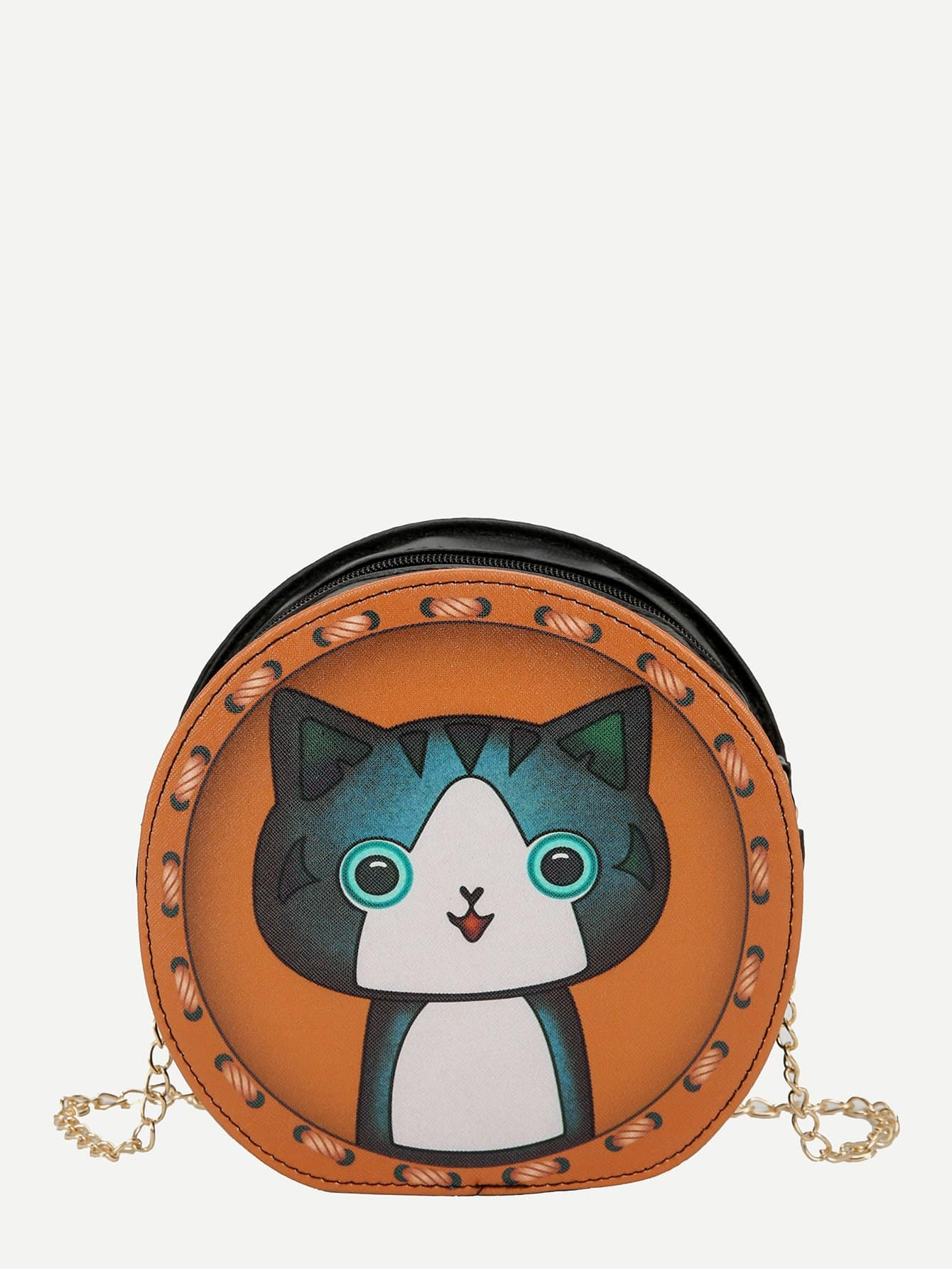 Cat Pattern Round Shaped Chain Bag