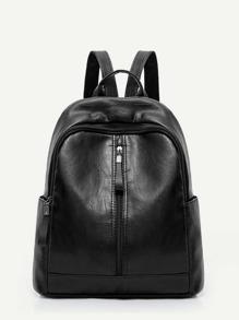 Zip Front PU Backpack