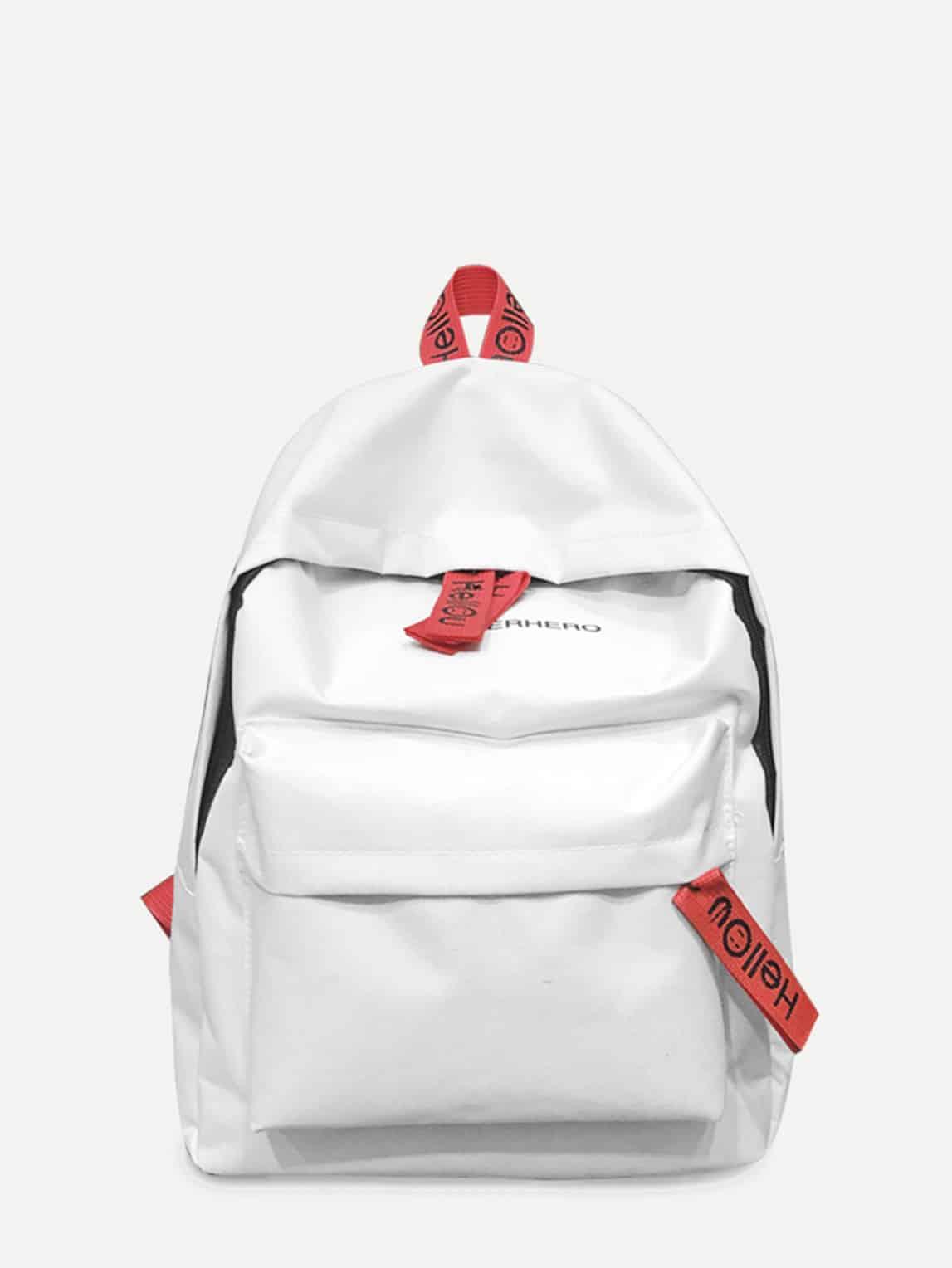 Slogan Detail Pocket Front Backpack