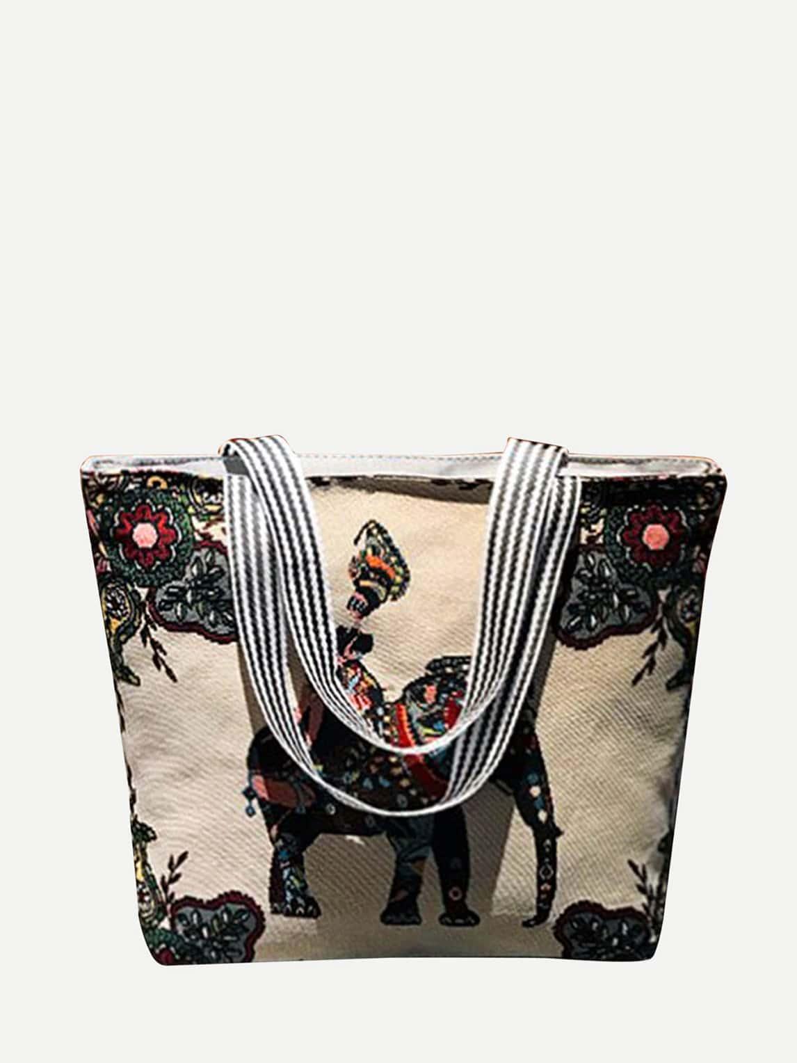 Elephant Fabric Tote Bag happy drawing organic elephant grey fabric