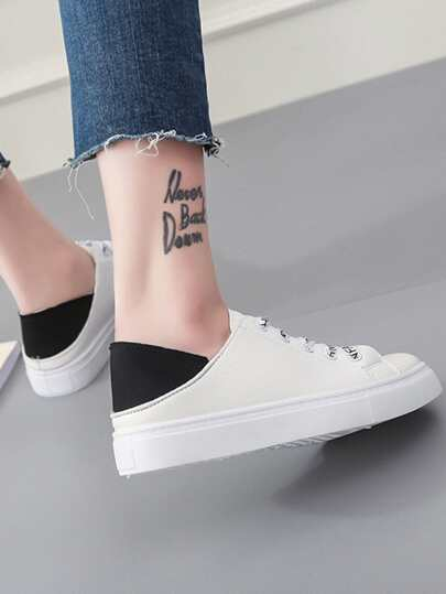 Romwe / Slogan Print Lace Up Sneakers