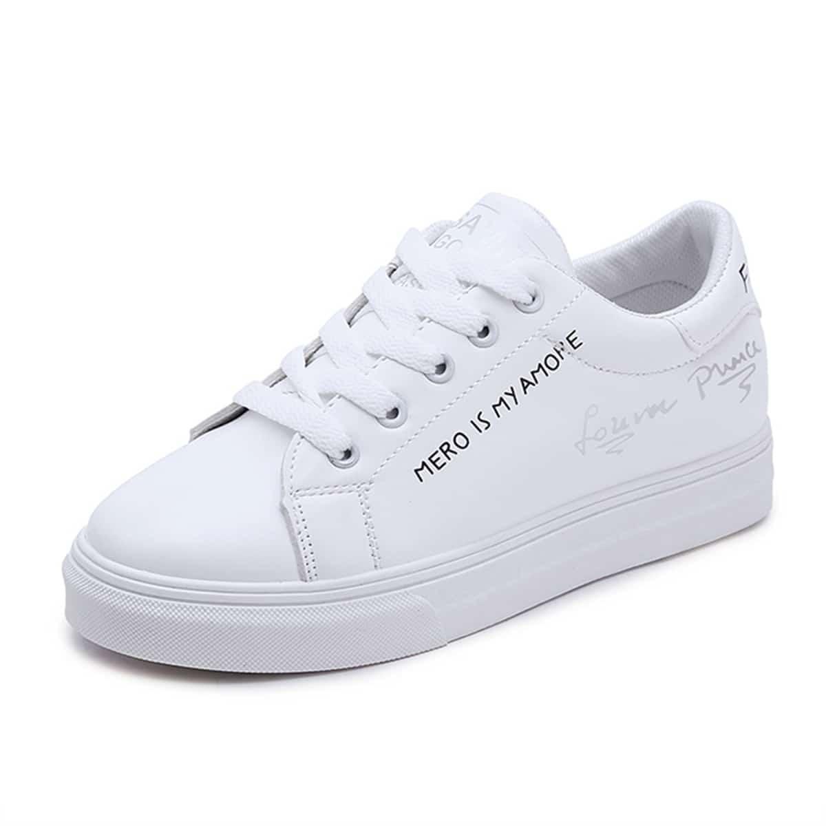 Белый Со шнурвокой Удобный Кеды